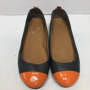 J. Crew Cap Toe Ballet Flats Shoes Gray Orange